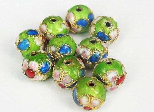 Cloisonne - Emaljerade pärlor - Ljusgrön - 10mm - 10st