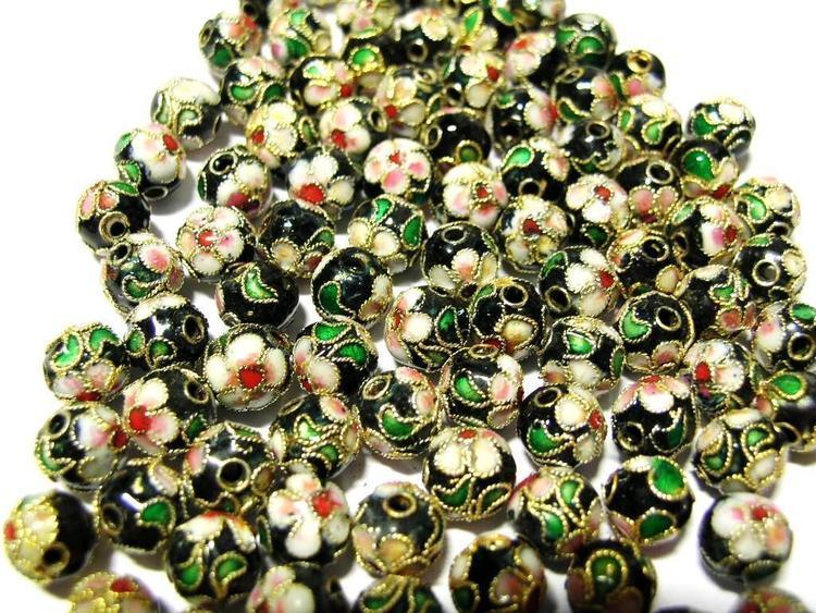 Cloisonne - Emaljerade pärlor - Svart - 8mm - 10st