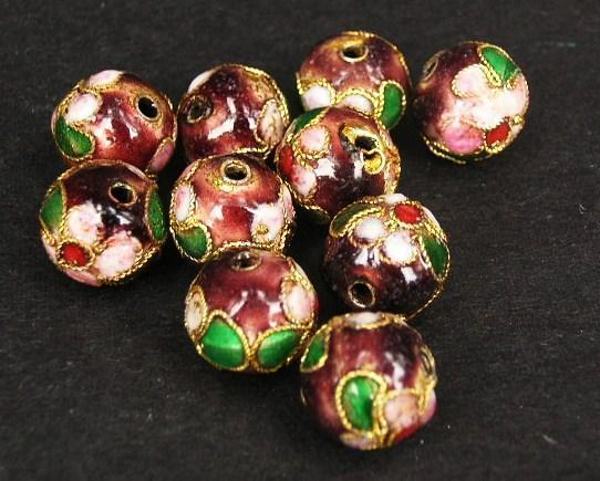 Cloisonne - Emaljerade pärlor - Bourdeaux- 10mm - 10st