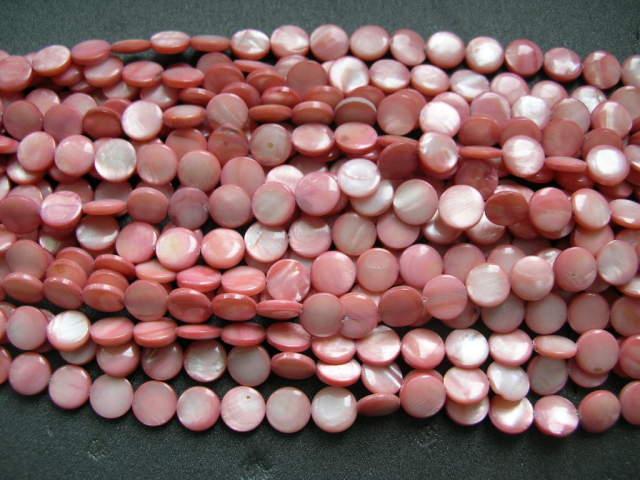 Snäckskalspärlor - Coin - Button - Rosa - 11,5mm - 4st