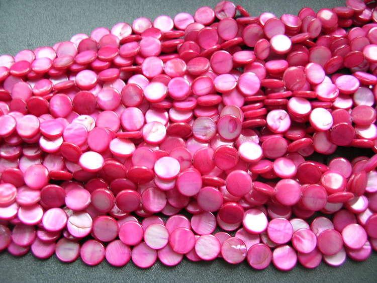 Snäckskalspärlor - Coin - Button - Röd - 11,5mm - 1sträng