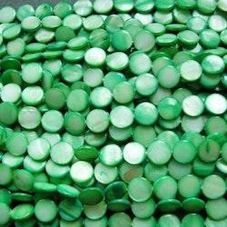 Snäckskalspärlor - Coin - Button - Grön - 11,5mm - 1sträng