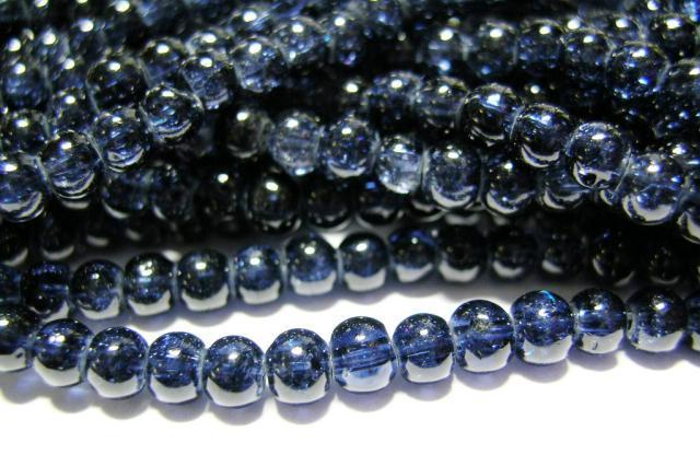 Glaspärlor - Crackle beads - Mörkblå - 1sträng