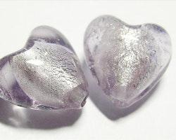 Silverfoil - Hjärta - Ljus Lila - 10st