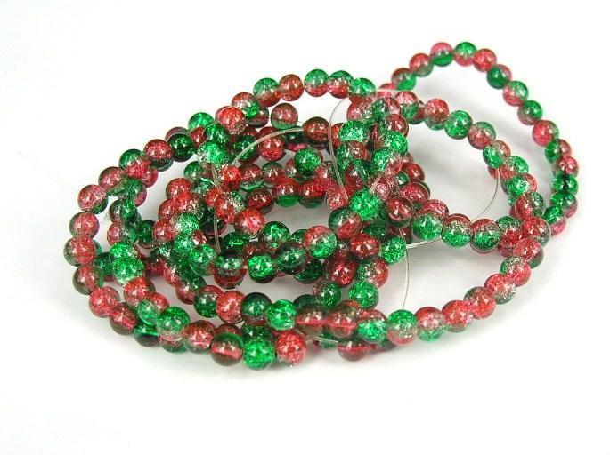 Glaspärlor - Crackle beads - Duo - Grön/Röd - 1Sträng