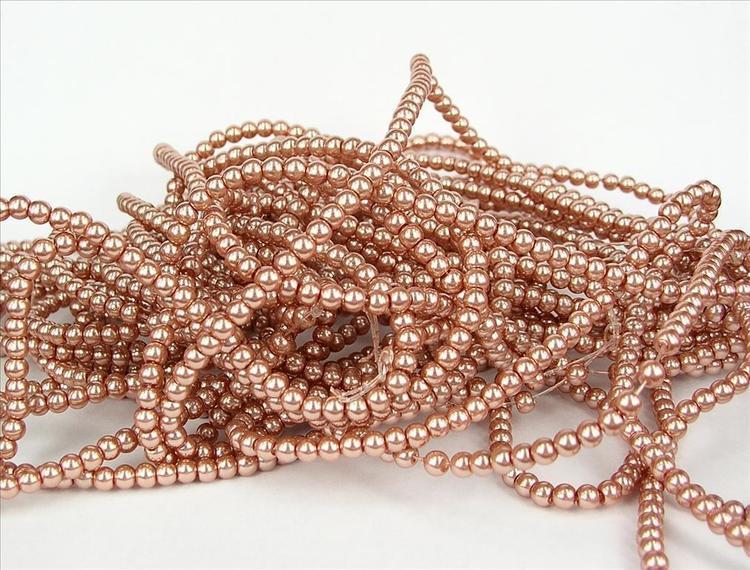 Romarpärlor - Vaxade Glaspärlor - Vintage Rosa - 1sträng
