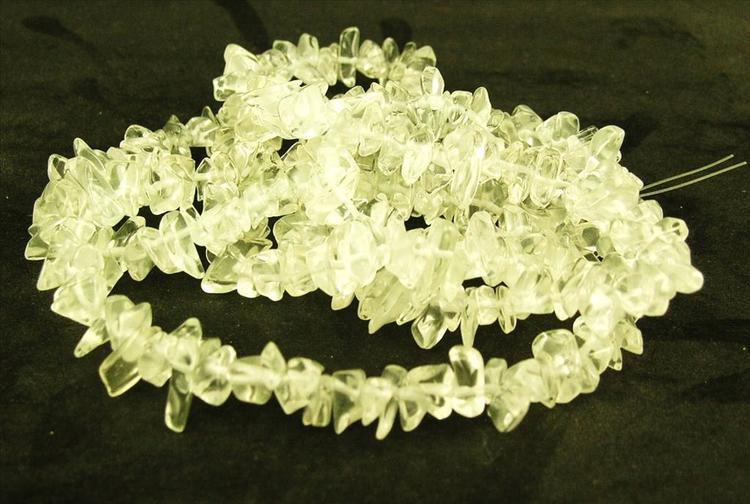 Glaspärlor - Glaschips - Crystal Clear - 1sträng