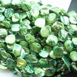 Snäckskalspärlor - Romb - Läkerol grön - 1sträng