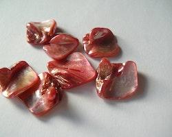 Snäckskalspärlor - Romb - Läkerol röd - 1sträng