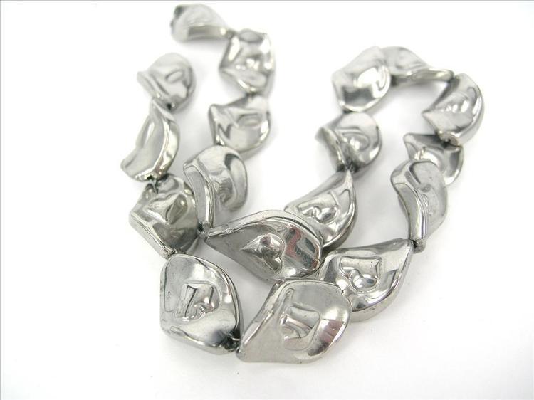 Glaspärlor - Lackad - Romb - Silver - 1sträng