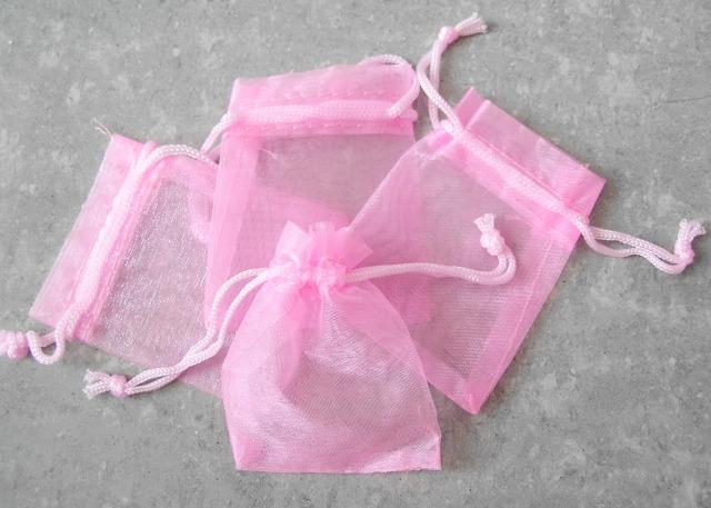 Organzapåse - Liten - Rosa - 7*5cm - 10st