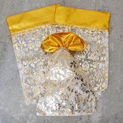 Organzapåse - Stor - Vit - Guldrosor - 28*18cm - 5st