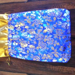 Organzapåse - Stor - Blå - Guldrosor - 28*18cm - 5st