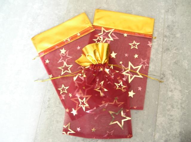 Organzapåse - Stor - Röd - Stjärnor - 27*17cm - 5st