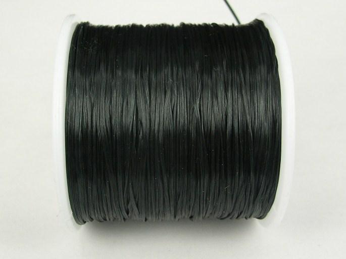 Elastisk tråd - Flat - Svart - 1st rulle 70m