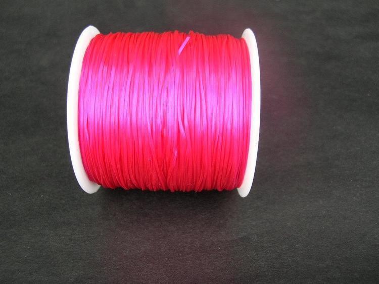 Elastisk tråd - Flat - Mörkrosa - 1st rulle 70m