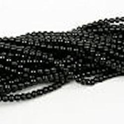Romarpärlor - Vaxade Glaspärlor - Svart - ca 4mm - 20st