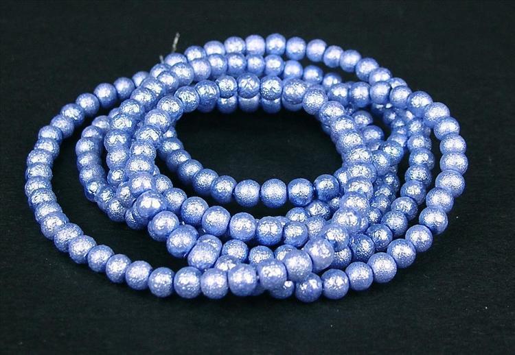 Strukturpärlor - Ispärlor - Glaspärlor - Blå - ca 4mm - 20st