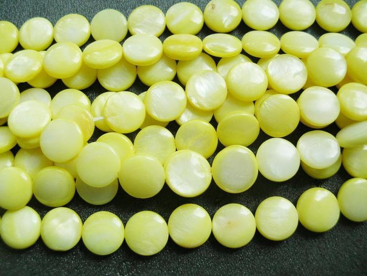 Snäckskalspärlor - Coin - Button - Gul - 11,5mm - 1sträng