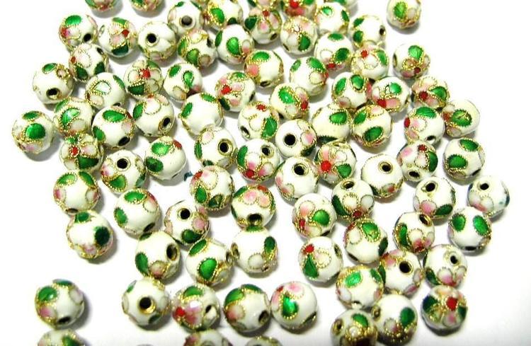 Cloisonne - Emaljerade pärlor - Vit - 8mm - 10st