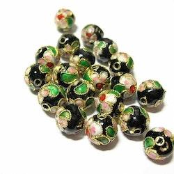 Cloisonne - Emaljerade pärlor - Svart - 10mm - 10st