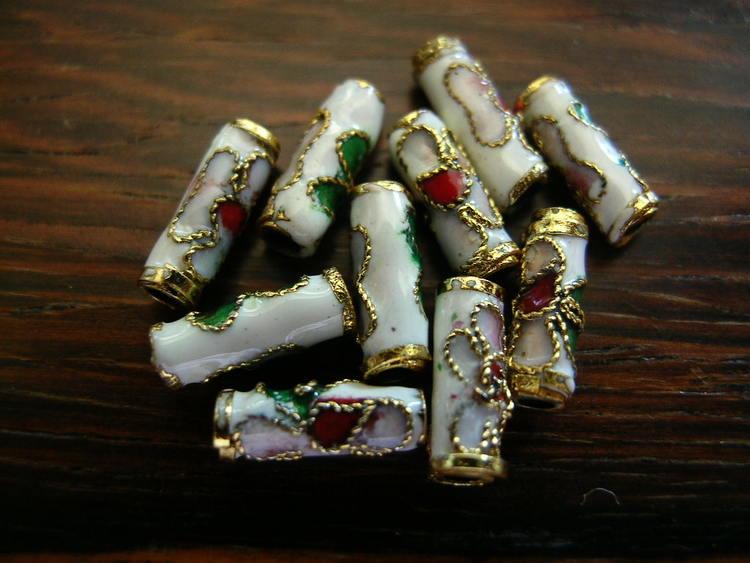 Cloisonne - Emaljerade pärlor - Tub - Vit - 10mm - 10st