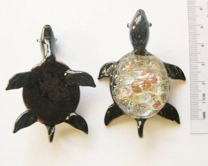 Lampwork - Hänge - Handblåst - Sköldpadda - Svart - 1st