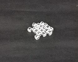 Bokstavspärlor - Fyrkantiga - Vita - ca286st