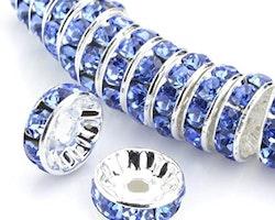 Rhinestone - Spacer - Pärlor - Light sapphire - 10st