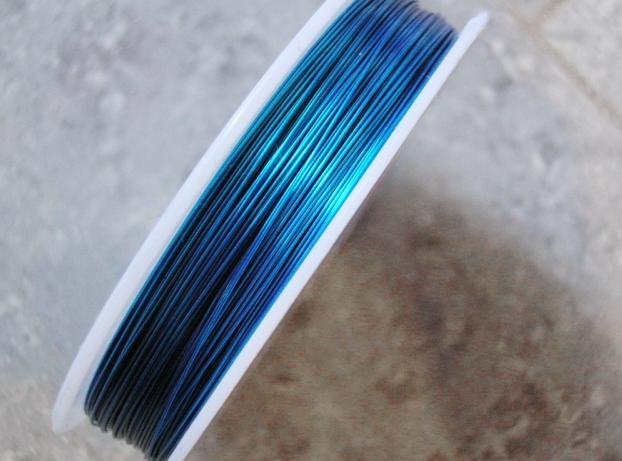 Koppartråd - 0,4mm - Turkos blå - 1rulle ca 25m