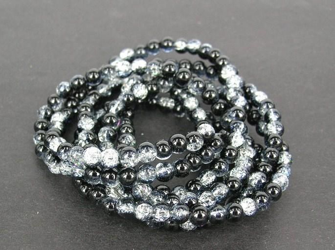Glaspärlor - Crackle beads - Duo - Svart/Vit - 20st