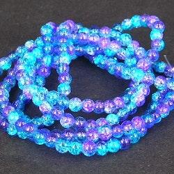 Glaspärlor - Crackle beads - Duo - Blå/Blå - 20st