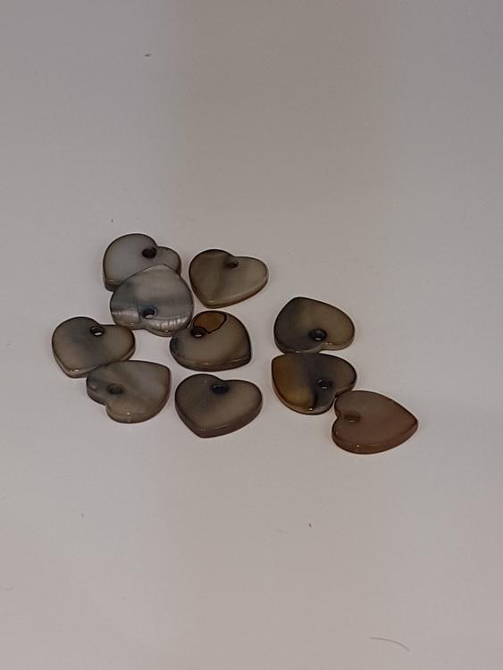 Snäckskalspärlor - Hjärtan - Svart - 15mm - 10st