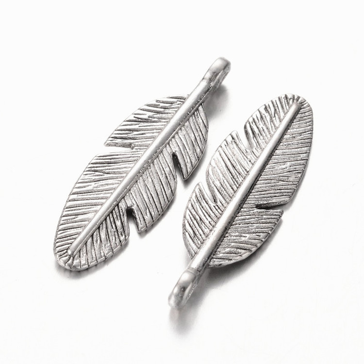 Antiksilver - Tibetanska - Hängen - Fjäder - Silver - 5st