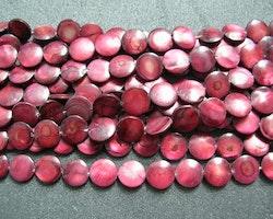 Snäckskalspärlor - Coin - Button - Mörkröd - 11,5mm - 4st