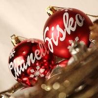 Röd julkula med egen text