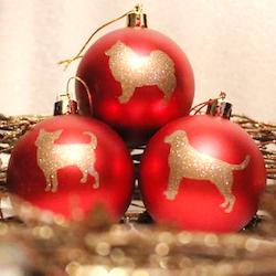 Röd Julkula Hundsiluetter A-B