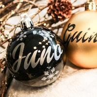 Svart julkula med egen text