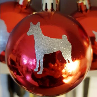 Röd julkula Hundsiluetter C-F