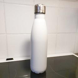 Stålflaska med svart tryck, vit