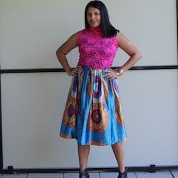 PRINTED MULTICOLOURED SKIRT
