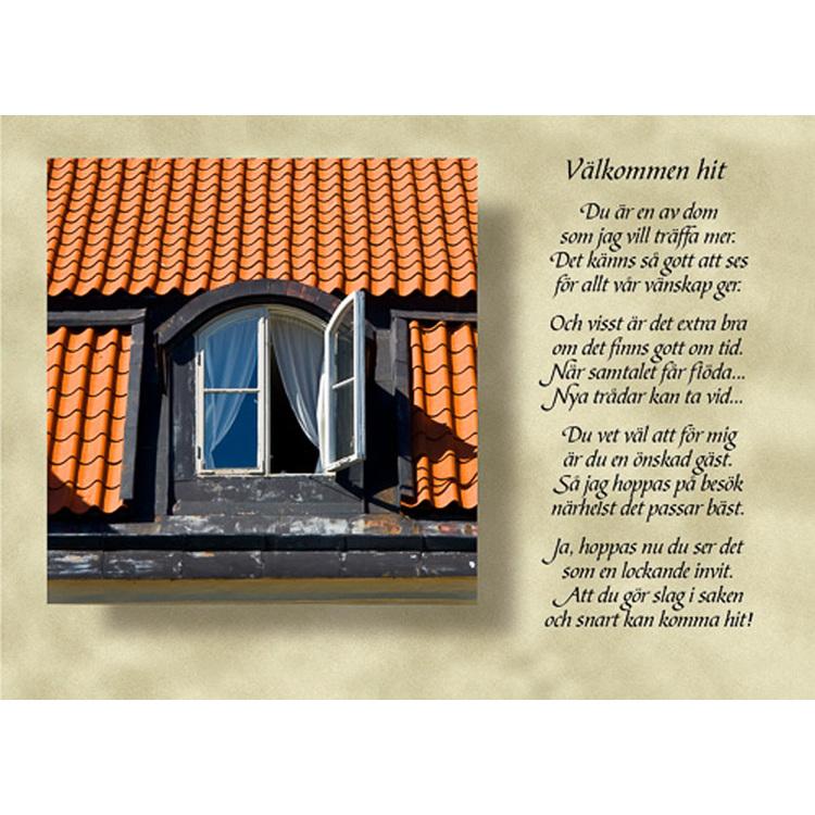 Diktkort med text av Siv Andersson - Välkommen hit. Foto: Per Johansson. Kortbutiken säljer detta vykort.