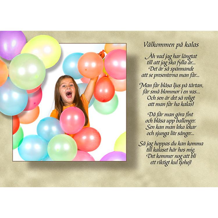 Diktkort med text av Siv Andersson - Välkommen på kalas. Foto: Per Johansson. Kortbutiken säljer detta vykort.