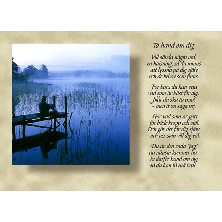 Diktkort med text av Siv Andersson - Tar hand om dig. Foto: Per Johansson. Kortbutiken säljer detta vykort.