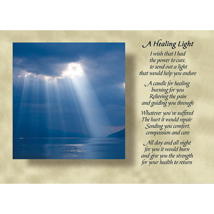Diktkort med engelsk text av Siv Andersson - A Healing Light. Foto: Per Johansson. Kortbutiken säljer detta vykort.