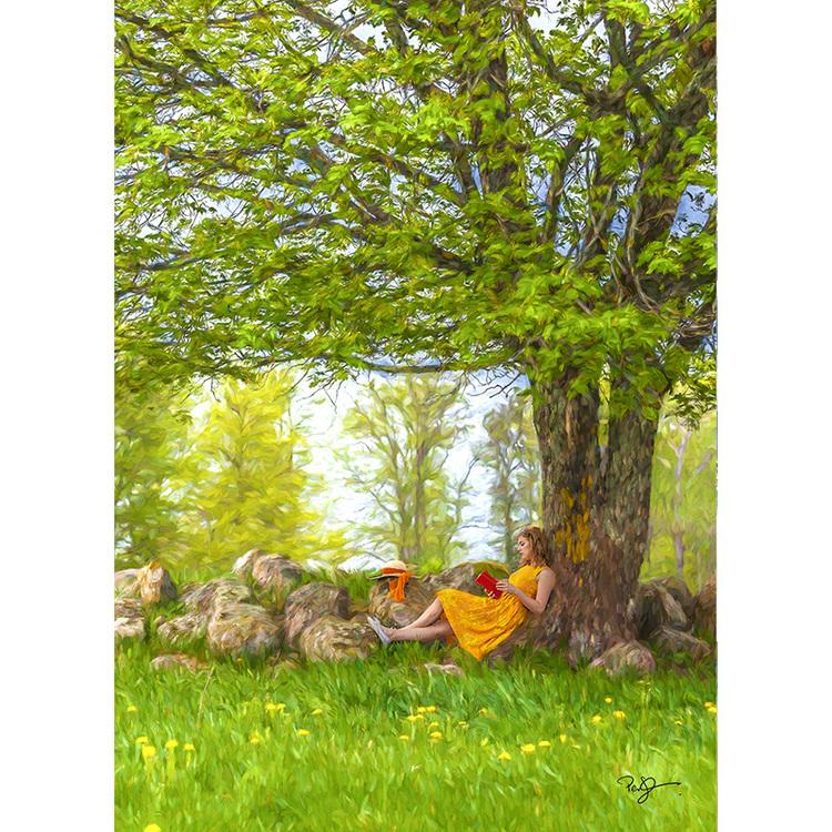 Vykort. Sommar under trädet. Foto: Per Johansson - Joanzon. Kortbutiken säljer detta vykort.