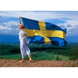Flicka med svenska flaggan