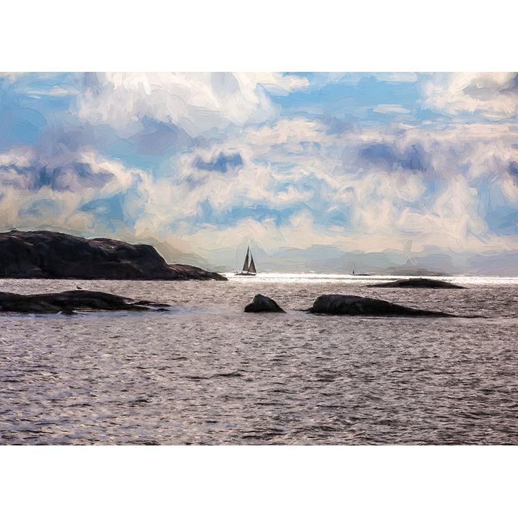 Vykort. Segelbåt vid horisonten. Foto: Per Johansson - Joanzon. Kortbutiken säljer detta vykort.