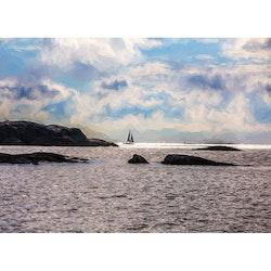 Segelbåt vid horisonten