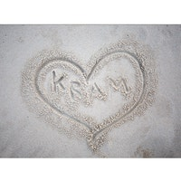 Kram skrivet i sand